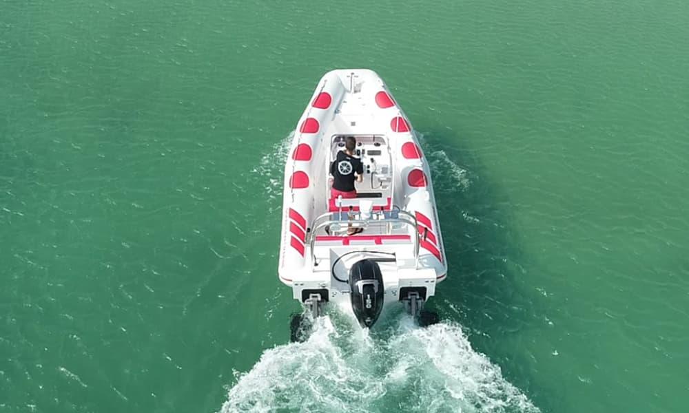Amphibious boat on water