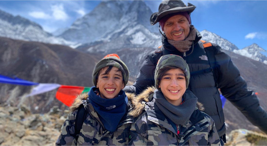 Roy with his boys among the youngest climbers to climb Mt. Everest in the World