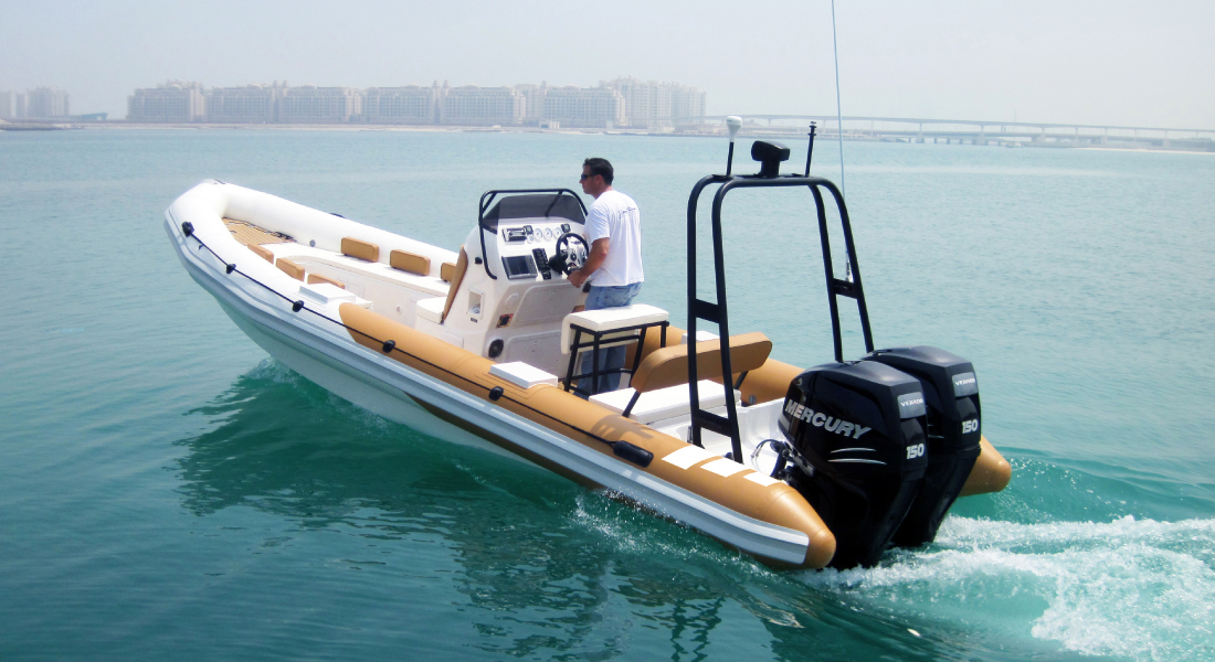 Rigid Inflatable Boat with Outboard Diesel Engine