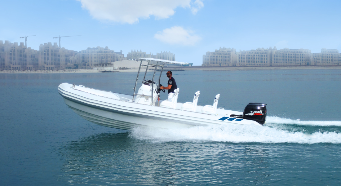 Rigid Hull Inflatable Boat with Open Canopy