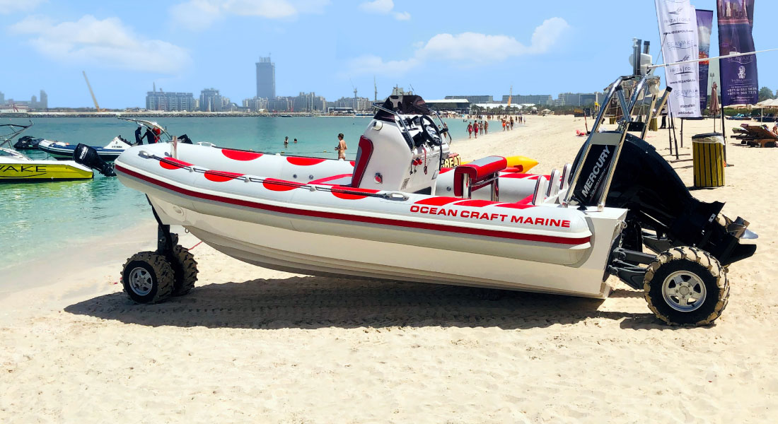 Amphibious RHIB with Outboard Engine