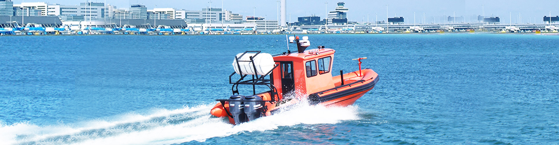 Airport Rescue RIB Boat with Cabin.