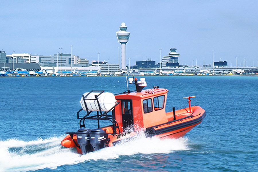 Airport rescue rib boat with cabin